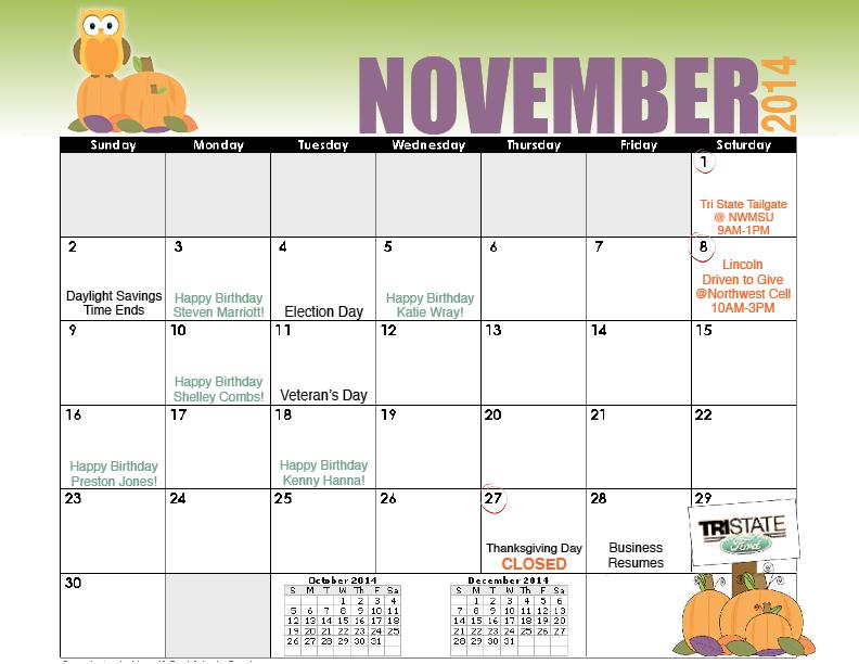 Novmeber Calendar